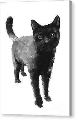 Black Cat Watercolor Painting  Canvas Print by Joanna Szmerdt