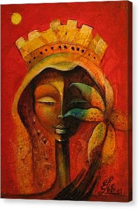Black Flower Queen Canvas Print by Elie Lescot