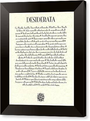Black Border Sunburst Desiderata Poem Canvas Print by Desiderata Gallery