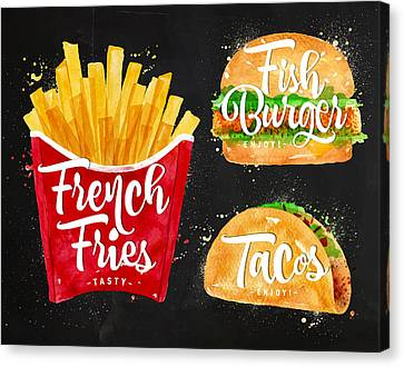 Black French Fries Canvas Print by Aloke Design