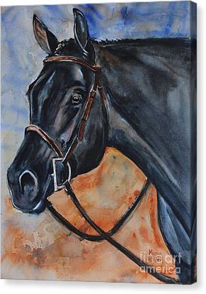 Black Horse Head Canvas Print by Maria's Watercolor
