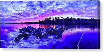 Black Ice At Twilight Canvas Print by ABeautifulSky Photography