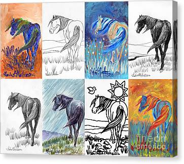Black Mustang Sampler Canvas Print by Linda L Martin
