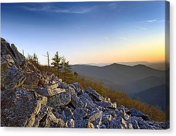 Black Rocks Summit In Shenandoah National Park Virginia At Sunset Canvas Print by Brendan Reals