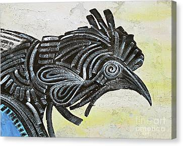 Black Rooster Canvas Print by Ethna Gillespie