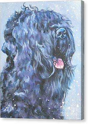 Black Russian Terrier In Snow Canvas Print by Lee Ann Shepard