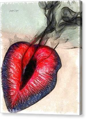 Black Smoke  - Pencil Style -  - Da Canvas Print by Leonardo Digenio