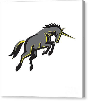 Black Unicorn Horse Charging Isolated Retro Canvas Print by Aloysius Patrimonio