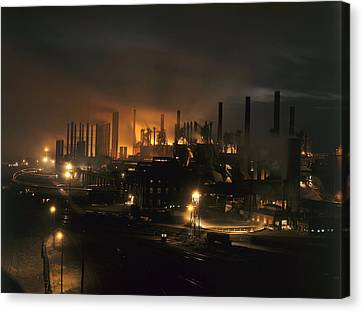 Blast Furnaces Of A Steel Mill Light Canvas Print by J Baylor Roberts
