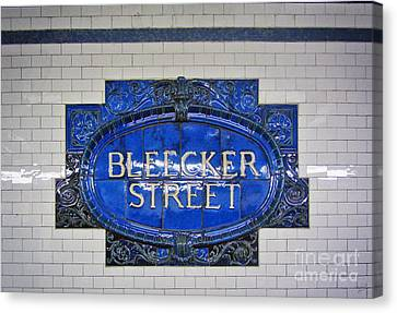 Bleecker Street Subway Sign Canvas Print by Nishanth Gopinathan