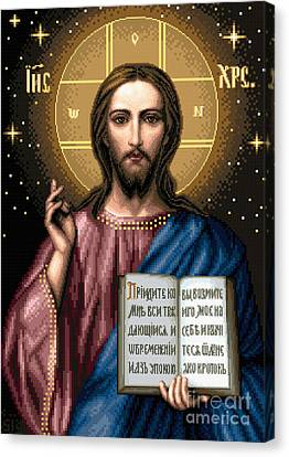 Blessing Christ Canvas Print by Stoyanka Ivanova
