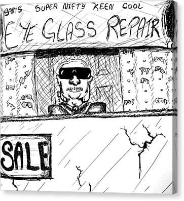Blind Eye Glass Repair Canvas Print by Jera Sky