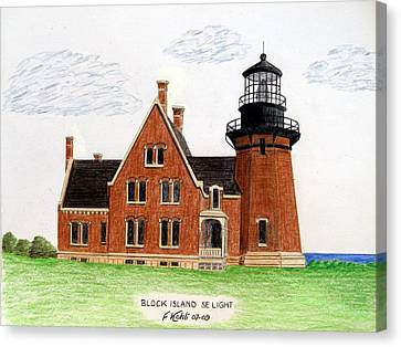 Block Island Se Lighthouse Canvas Print by Frederic Kohli