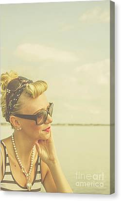 Blonde Pin Up Girl With Nostalgia Canvas Print by Jorgo Photography - Wall Art Gallery