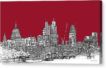Blood Red London Skyline  Canvas Print by Adendorff Design