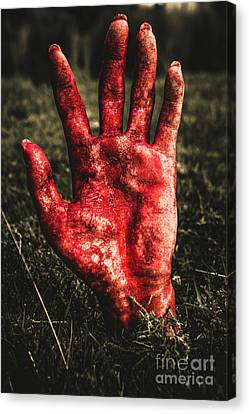 Blood Stained Hand Coming Out Of The Ground At Night Canvas Print by Jorgo Photography - Wall Art Gallery