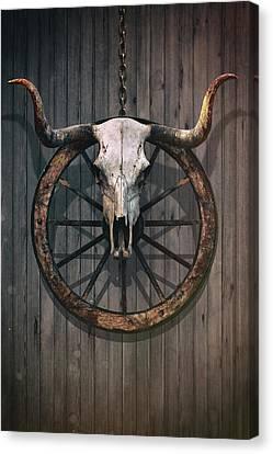 Bloody Bull Skull Canvas Print by Carlos Caetano