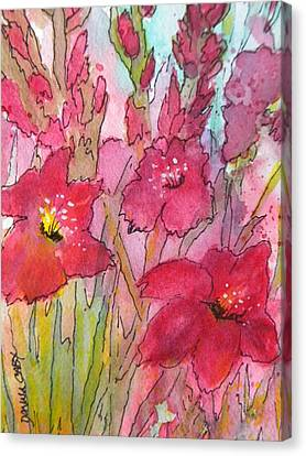 Blooming Glads Canvas Print by Donna Cary