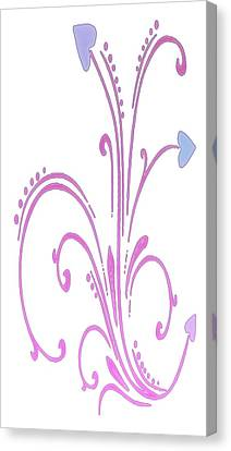 Blooming Pastel Hearts On A Vine Canvas Print by Gina Lee Manley