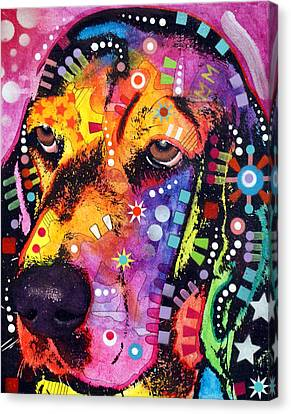 Blossom Basset Hound Canvas Print by Dean Russo