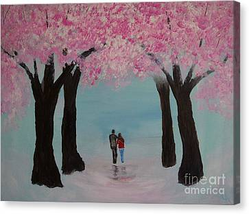 Blossoming Romance Canvas Print by Leslie Allen