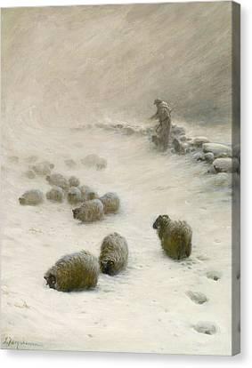 Blow Blow Thou Wintery Wind Canvas Print by Joseph Farquharson