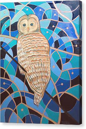 Blue Al Whimsical Owl Painting Canvas Print by Scott Plaster