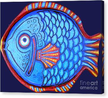 Blue And Red Fish Canvas Print by Genevieve Esson