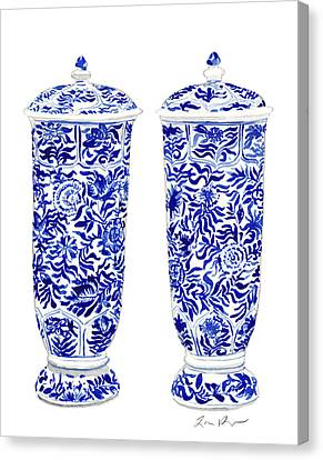 Blue And White Chinoiserie Vases Canvas Print by Laura Row