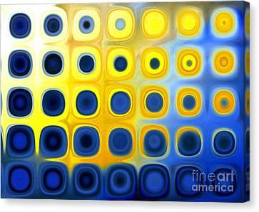 Blue And Yellow Circles  B Canvas Print by Patty Vicknair