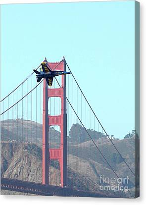 Blue Angels Crossing The Golden Gate Bridge 3 Canvas Print by Wingsdomain Art and Photography