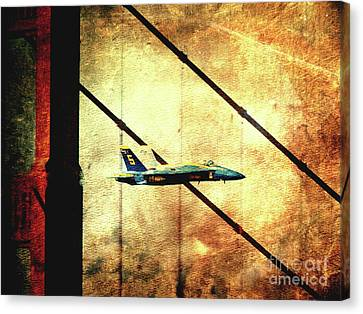 Blue Angels Golden Gate And Moon - Photoart Canvas Print by Wingsdomain Art and Photography