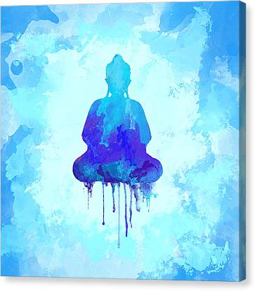Blue Buddha Watercolor Painting Canvas Print by Thubakabra
