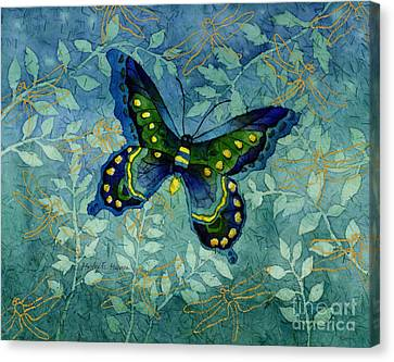 Blue Butterfly Canvas Print by Hailey E Herrera