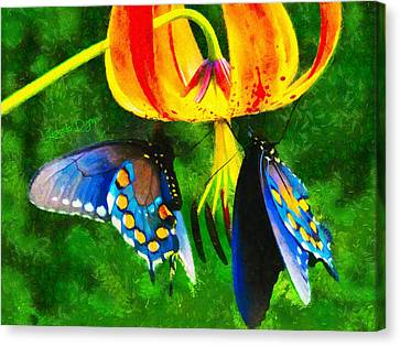 Blue Butterfly In Nature - Da Canvas Print by Leonardo Digenio