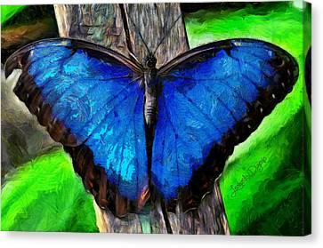 Blue Butterfly  - Van Gogh Style -  - Da Canvas Print by Leonardo Digenio