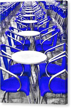 Blue Chairs In Venice Canvas Print by Mel Steinhauer