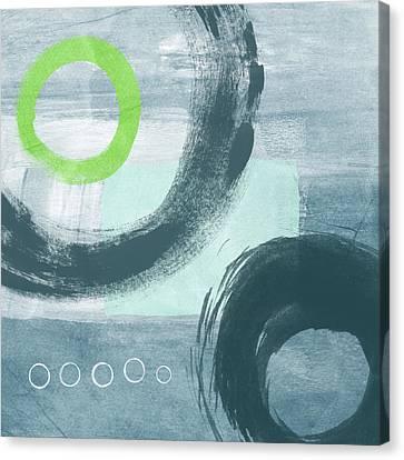 Blue Circles 1- Art By Linda Woods Canvas Print by Linda Woods