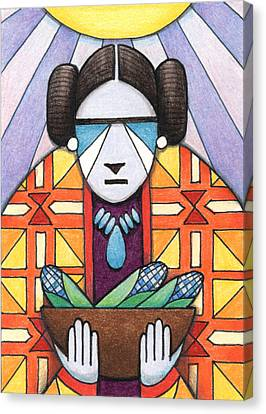 Blue Corn Woman Canvas Print by Amy S Turner