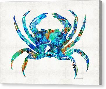 Blue Crab Art By Sharon Cummings Canvas Print by Sharon Cummings