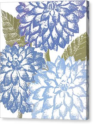 Blue Dahlias Canvas Print by Mindy Sommers