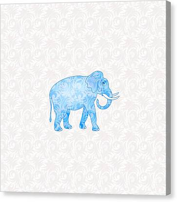 Blue Damask Elephant Canvas Print by Antique Images