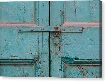 Blue Door Of Cortona Canvas Print by David Letts