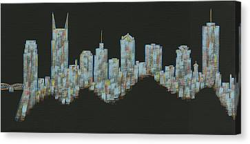 Blue Floating Nashville Skyline Canvas Print by Helen Prater