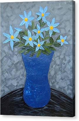Canvas Print featuring the painting Blue Floral Vase by Terry Mulligan