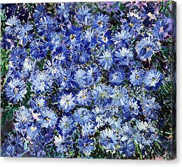 Blue Flowers Canvas Print by Don  Wright