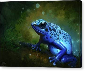 Blue Frog Canvas Print by Caroline Jamhour
