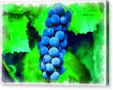 Blue Grapes  - Aquarell Style -  - Da Canvas Print by Leonardo Digenio