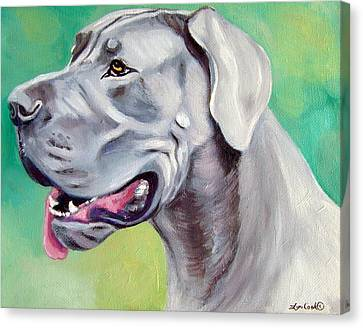 Blue Great Dane Canvas Print by Lyn Cook