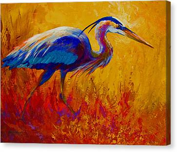 Blue Heron Canvas Print by Marion Rose